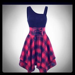 Red & black plaid handkerchief dress